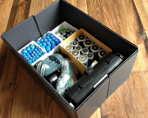 organized batteries in a storage box