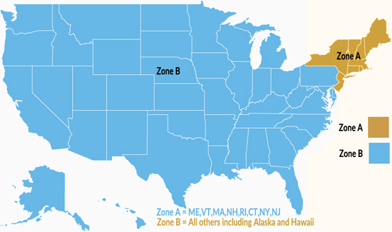 Free Shipping Plasters Zone Map